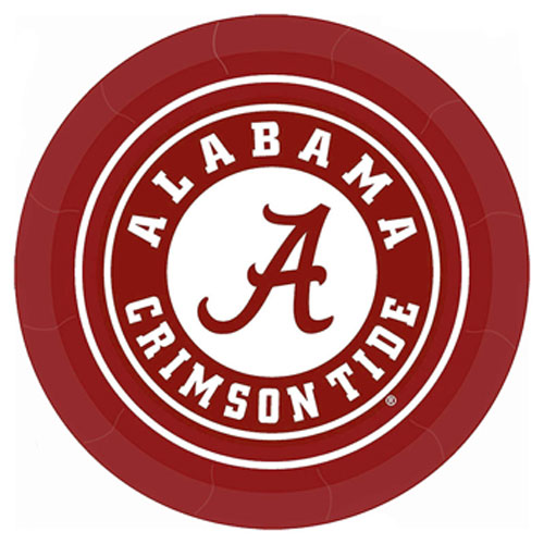 Crimson Athletic Seal Paper Plate