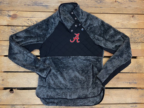 Script A Quilted Fuzzy Fleece Pullover